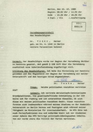 Vernehmungsprotokoll Werner Teskes vom 10. Dezember 1980
