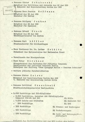 Ablaufplan der symbolischen Grundsteinlegung für den Wiederaufbau der Neuen Synagoge Berlin