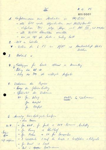 Aufzeichnungen eines Stasi-Offiziers der Dienststelle Hildburghausen über eine Beratung am 4. Dezember 1989