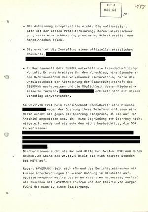 Bericht über die Aktivitäten von Biermann-Freunden in der DDR nach dessen Ausbürgerung