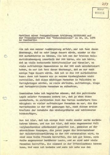 Pressekonferenz Wolf Biermanns nach seiner Ausbürgerung