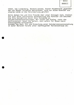 Offener Brief an namhafte Künstler in der DDR und den Schriftstellerverband der DDR nach der Liebknecht-Luxemburg-Demonstration 1988