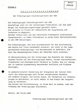 Positionsbestimmung der Arbeitsgruppe Staatsbürgerschaftsrecht