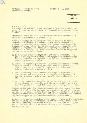 Vermerk zu den Ermittlungen zum mit rechtsextremen Parolen beschmierten sowjetischen Ehrenmal