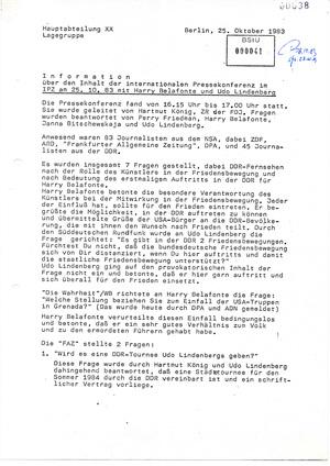 Bericht über die Pressekonferenz mit Harry Belafonte und Udo Lindenberg in Ost-Berlin