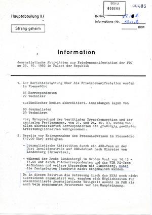 Information über die beim Lindenberg-Konzert in Ost-Berlin anwesenden Pressevertreter
