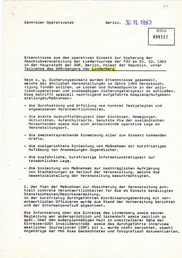 Erkenntnisse aus dem Sicherungseinsatz beim Friedenskonzert mit Udo Lindenberg