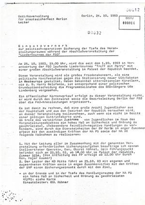Einsatzplan zur Sicherung des Konzertes von Udo Lindenberg und Harry Belafonte