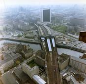Luftbilder der Grenze in Berlin am Bahnhof Friedrichstraße