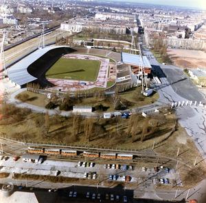 Luftbilder der Berliner Mauer am Friedrich-Ludwig-Jahn-Sportpark vor dem Ausbau der Grenzanlagen