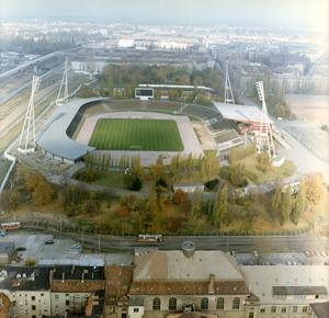 Luftbilder der Berliner Mauer am Friedrich-Ludwig-Jahn-Sportpark nach dem Ausbau der Grenzanlagen