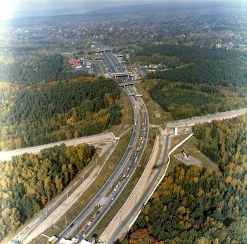 Luftbildaufnahmen der Grenze zu Westberlin am Grenzübergang Drewitz/Dreilinden