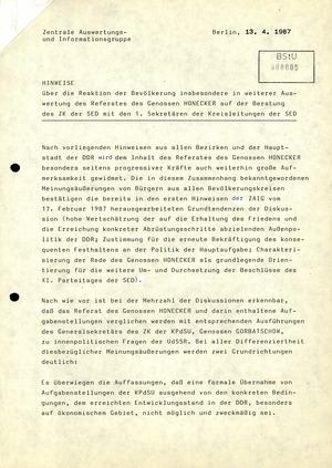 Reaktion der DDR-Bevölkerung auf Honeckers Referat auf der Beratung des ZK-Sekretariats mit den Ersten Sekretären der Kreisleitungen der SED