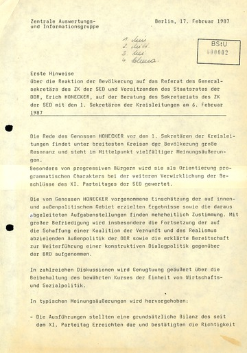 Reaktionen der DDR-Bevölkerung auf Honeckers Rede am 6. Februar 1987