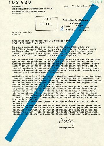 Bericht Erich Mielkes zur Aufhebung der Haftbefehle von Wolfgang Rüddenklau und Bert Schlegel