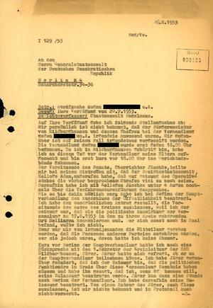 Schreiben an den Generalstaatsanwalt der DDR zur Verhandlung gegen vier Hellinger Bürger