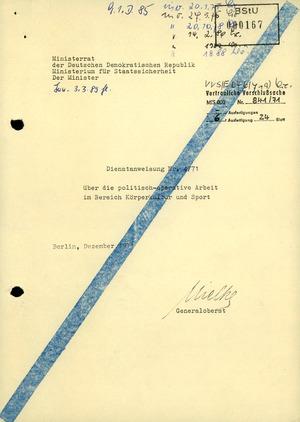 Dienstanweisung 4/71 über die politisch-operative Arbeit im Bereich Körperkultur und Sport