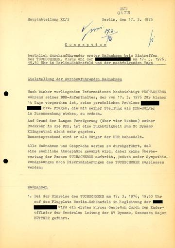 Konzeption von Maßnahmen für die Rückkehr von Klaus Tuchscherer in die DDR