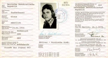 Olympische Identitätskarte von Klaus Tuchscherer