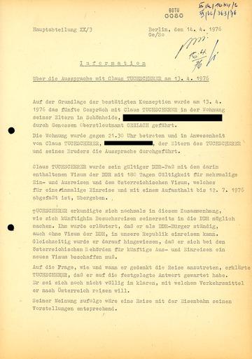 Information über eine Aussprache mit Klaus Tuchscherer