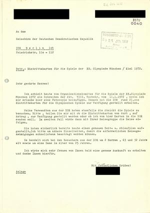 Anfrage Bürger der Bundesrepublik - Information Spiele der XX. Olympiade 1972 in München
