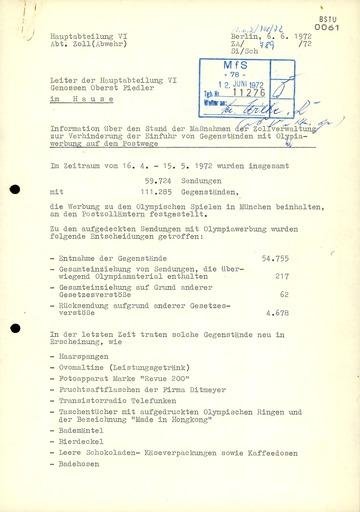 """Information über """"Maßnahmen der Zollverwaltung zur Verhinderung der Einfuhr von Gegenständen mit Olympiawerbung"""""""