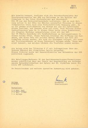 Information Anfragen - Spiele der XX. Olympiade 1972 in München