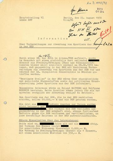 Vorbereitung und Umsetzung der Überwachung von beantragten und genehmigten Reisen von DDR-Bürgern zu den Olypischen Spielen 1972 nach München
