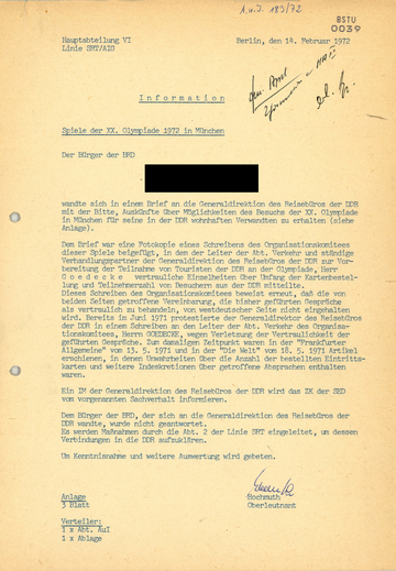 Anfrage Bürger der Bundesrepublik - Information Spiele der XX. Olympiade 1972 in Müncen
