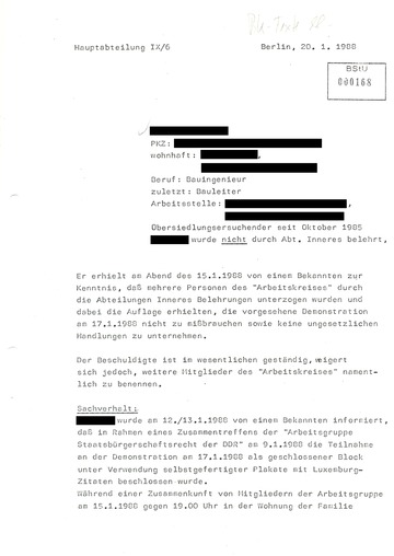 Bericht über eine Festnahme bei der Liebknecht-Luxemburg-Demonstration 1988