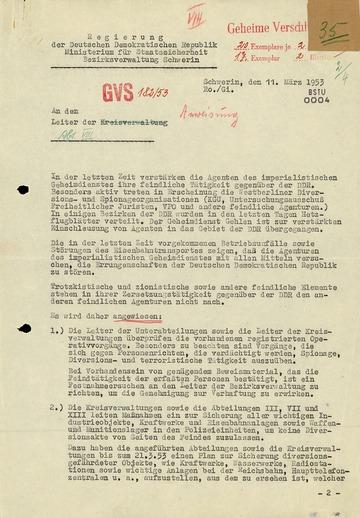 Anweisung der Bezirksverwaltung Schwerin im Vorfeld des 17. Juni 1953