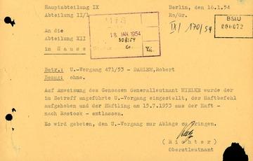 Einstellung des Untersuchungsvorgangs gegen Robert Dahlem