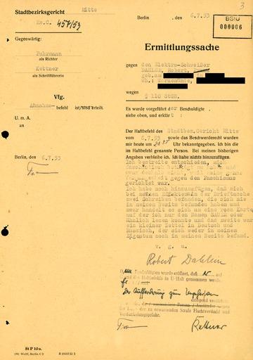 Ermittlungssache gegen den Schweißer Robert Dahlem
