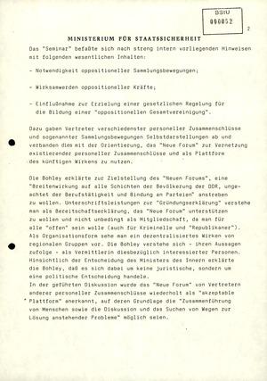 """Information zur """"Bildung der oppositionellen Sammlungsbewegung 'Neues Forum'"""""""