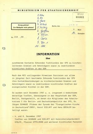 Information über zunehmende Kontakte führender SPD-Funktionäre zu kirchlichen Gremien und Amtsträgern in der DDR