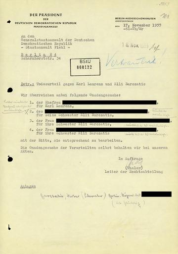 Gnadengesuche für Elli Barczatis und Karl Laurenz