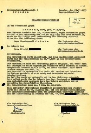 Vollstreckungsprotokoll der Hinrichtung von Karl Laurenz