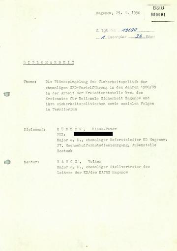 """Diplomarbeit: """"Sicherheitspolitik der ehemaligen SED-Parteiführung in den Jahren 1988/89 in der Arbeit der Kreisdienststelle Hagenow"""""""