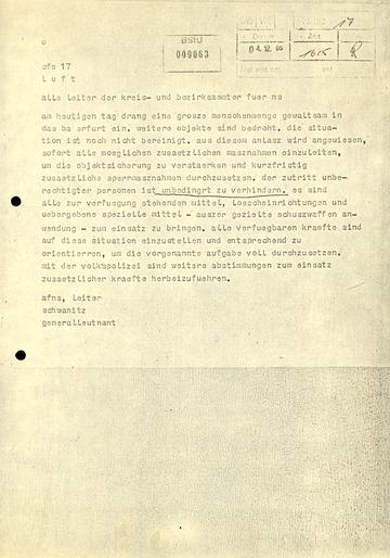Fernschreiben von Schwanitz an die Leiter der Kreis- und Bezirksämter für Nationale Sicherheit