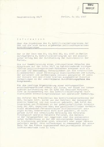 Information über die Ergebnisse des X. Schriftstellerkongresses der DDR