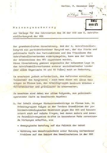 Einschätzung der HA XX zum X. Schriftstellerkongress der DDR