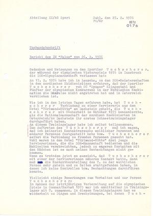 """Bericht des IM """"Falun"""" über Klaus Tuchscherer"""