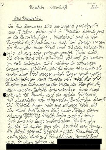 Handschriftliche Notizen über Jugendkulturen in Potsdam