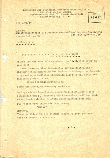 """Dienstanweisung Nr. 54/54 zur Aktion """"Blitz"""""""