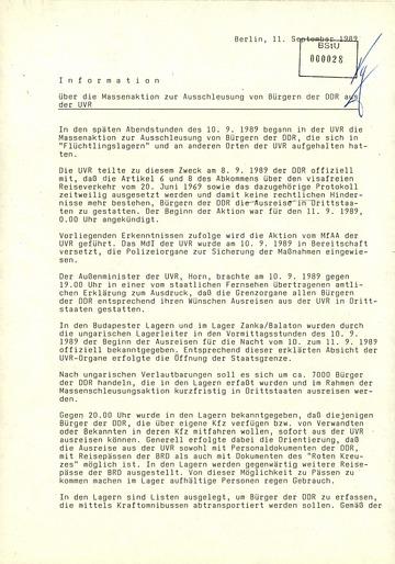Information über die Massenaktion zur Ausschleusung von Bürgern der DDR aus der UVR