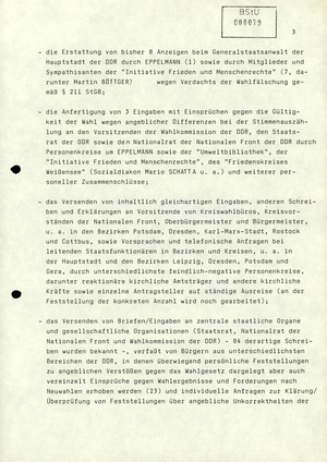 Zu Protestaktivitäten im Zusammenhang mit den Kommunalwahlen 1989