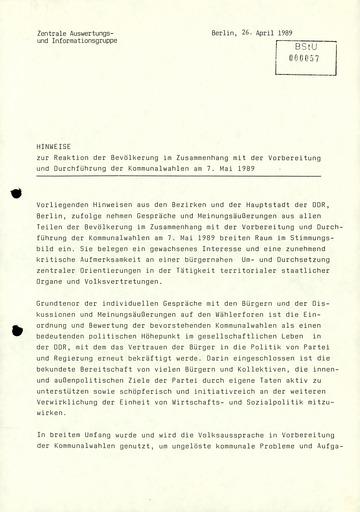 Meinungen aus der DDR-Bevölkerung zu den bevorstehenden Kommunalwahlen 1989