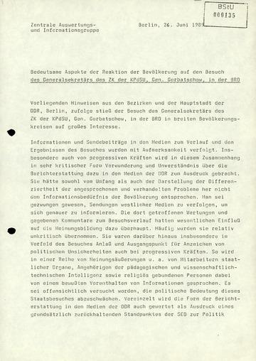 Reaktionen der DDR-Bevölkerung auf Michail Gorbatschows Besuch der Bundesrepublik