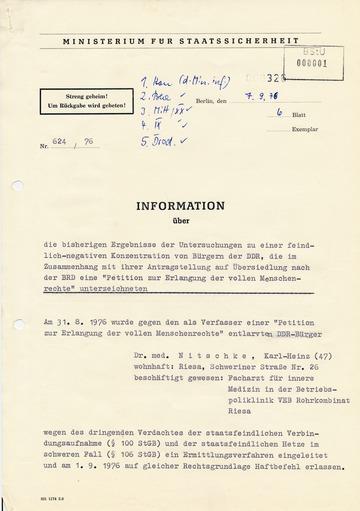 Information an die SED-Führung über eine Petition für mehr Menschenrechte