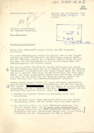 Auswertung eines IM-Berichts über ein Gerücht zu einem Rolling-Stones-Konzert